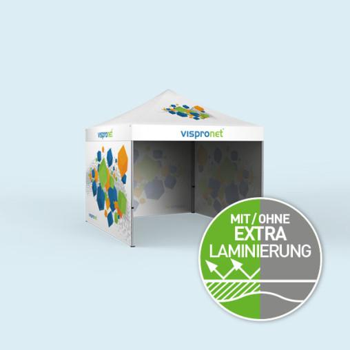 Faltzelt Select 3 x 3 m mit 3 Wänden, mit Druck