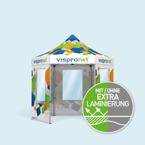 Faltzelt Select Hexagon 3 m, 5 Wände mit Fenster, mit Druck