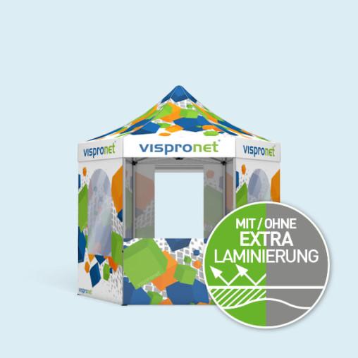 Faltzelt Select Hexagon 3 m, 6 Wände, mit Druck