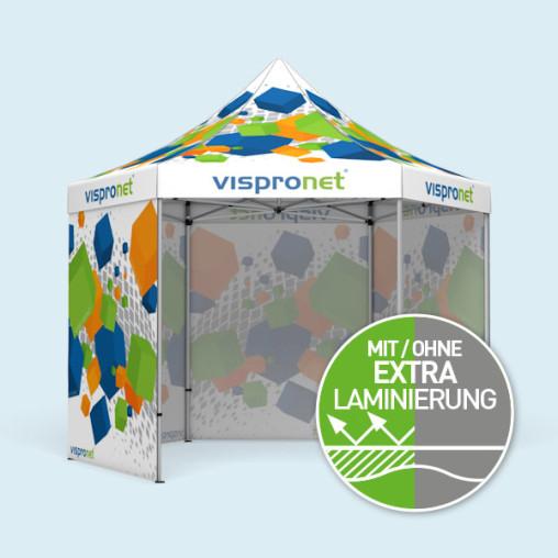 Faltzelt Select Hexagon 4 m, 4 Vollwände, mit Druck