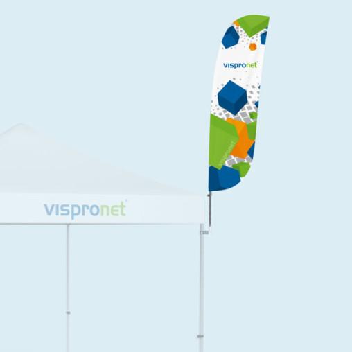 Bowflag® Basic mit konvexer Unterkante, mit Druck, Bsp.: Größe S