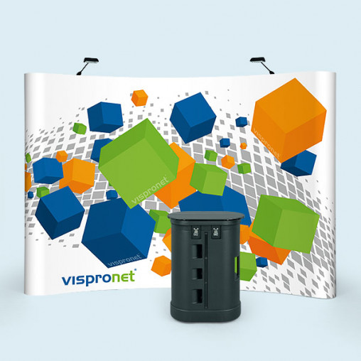 Pop Up Faltdisplay Magnet mit Hardcase Trolley und Beleuchtung