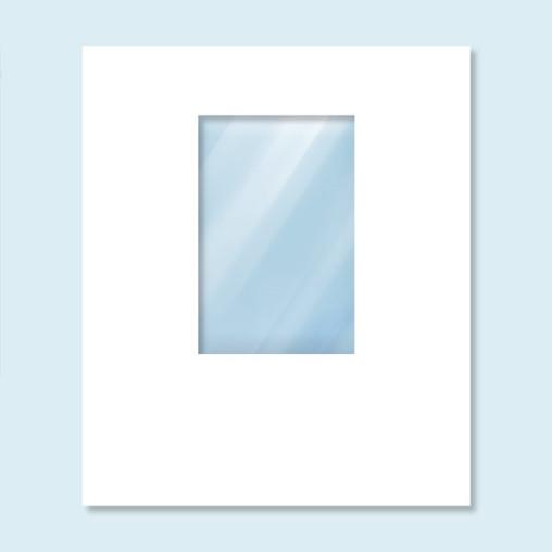 Wand Hexagon mit Fenster, weiß, ohne Druck, 200 x 235 cm