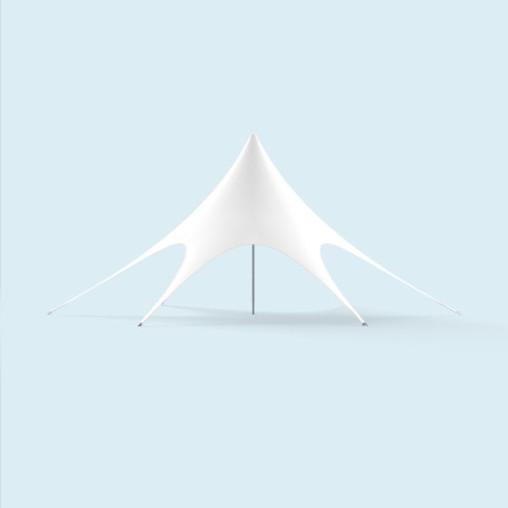 Sternpavillon ø 12 m unbedruckt, weiß,  mit Reißverschlüssen für Zeltwände