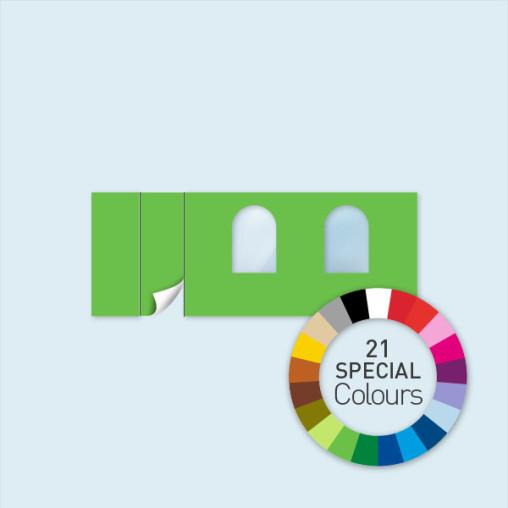 Wand m. 1 Tür links & 2 Rundfenstern 600 x 220 cm, in 21 Sonderfarben erhältlich