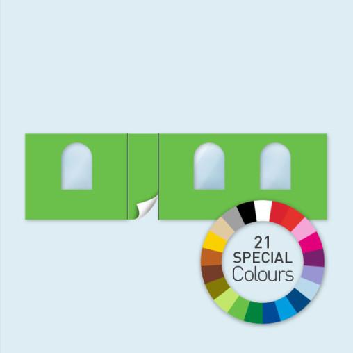 Wand m. Tür linksseitig & 3 Rundfenst. 800 x 220 cm, in 21 Sonderfarben erhältlich