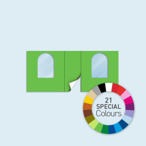 Wand m. Tür mittig & 2 Rundfenstern 450 x 205 cm, in 21 Sonderfarben erhältlich