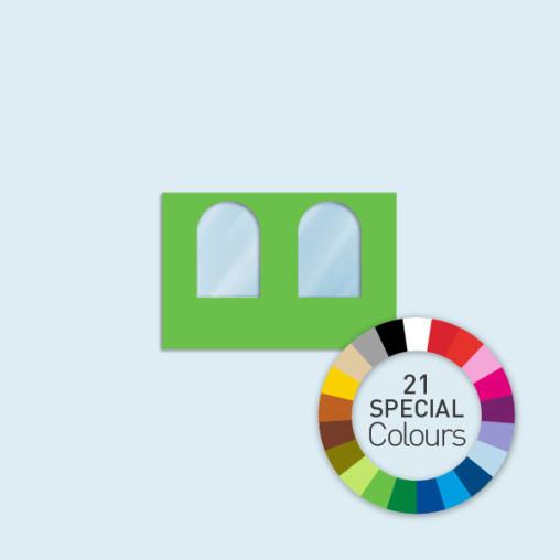 Wand mit 2 Rundfenstern 300 x 205 cm Basic/Select, in 21 Sonderfarben erhältlich