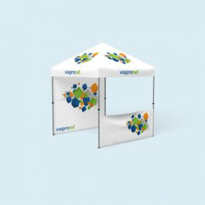 Faltzelt Compact 2,5 x 2,5 m, mit 2 Wänden, mit Druck