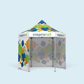 Faltzelt Select Hexagon 3 m, 4 Wände, mit Druck
