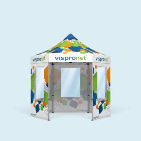 Faltzelt Select Hexagon 3 m, 5 Wände, mit Druck