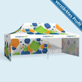 Faltzelt Select 4 x 8 m mit 3 geschlossenen Wänden, mit Druck