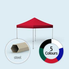 Faltpavillon Basic, Dach & Volant in Grundfarben, ohne Wände