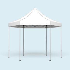Faltpavillon Select Hexagon 4 m, Dach & Volant weiß, ohne Wände