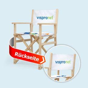 Holz-Regiestühle, Rückenlehne beidseitig bedruckt