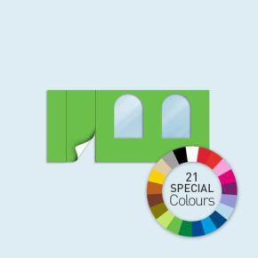 Wand mit 1 Tür links und 2 Rundfenstern Basic/Select 450 x 205 cm, in Sonderfarben, Seitenkanten mit Befestigungsschlaufen