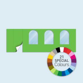 Wand mit 1 Tür links und 3 Rundfenstern Basic/Select 600 x 205 cm, in Sonderfarben, Seitenkanten mit Reißverschluss