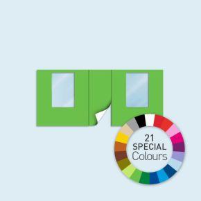 Wand mit 1 Tür mittig und 2 Fenstern Basic/Select 450 x 205 cm, in Sonderfarben, Seitenkanten mit Befestigungsschlaufen
