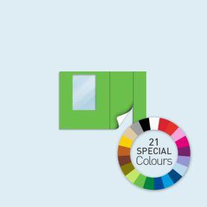 Wand mit 1 Tür rechts und 1 Fenster links Basic/Select/Eco 300 x 205 cm, in Sonderfarben, Seitenkanten mit Befestigungsschlaufen