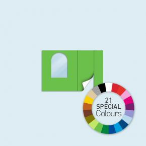 Wand mit 1 Tür rechts und 1 Rundfenster links Basic/Select/Eco 300 x 205 cm, in Sonderfarben, Seitenkanten mit Reißverschluss