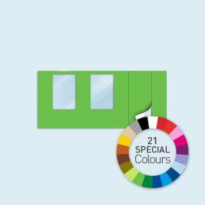 Wand mit 1 Tür rechts und 2 Fenstern Basic/Select 450 x 205 cm, in Sonderfarben, Seitenkanten mit Reißverschluss