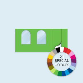 Wand mit 1 Tür rechts und 2 Rundfenstern Basic/Select 450 x 205 cm, in Sonderfarben, Seitenkanten mit Befestigungsschlaufen