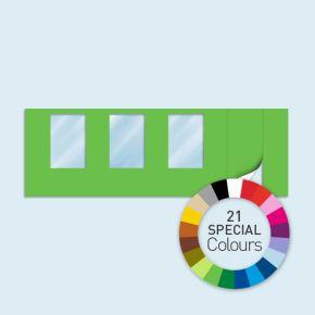 Wand mit 1 Tür rechts und 3 Fenstern Basic/Select 600 x 205 cm, in Sonderfarben, Seitenkanten mit Befestigungsschlaufen