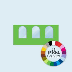 Wand mit 3 Rundfenstern Basic/Select 450 x 205 cm, in Sonderfarben, Seitenkanten mit Befestigungsschlaufen