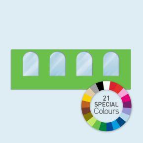 Wand mit 4 Rundfenstern Basic/Select 600 x 205 cm, in Sonderfarben, Seitenkanten mit Befestigungsschlaufen