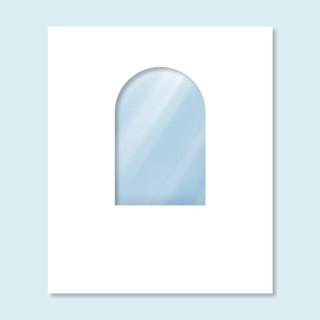 Wand Hexagon mit Rundfenster, weiß, ohne Druck, 200 x 235 cm