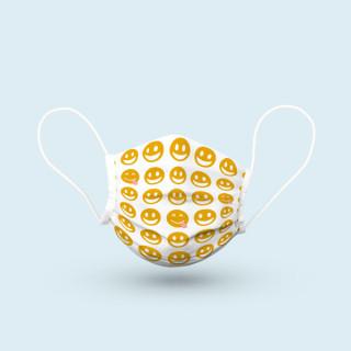 Mund-Nasen-Schutz, Ohrschlaufen, 15 x 7 cm - Smiley